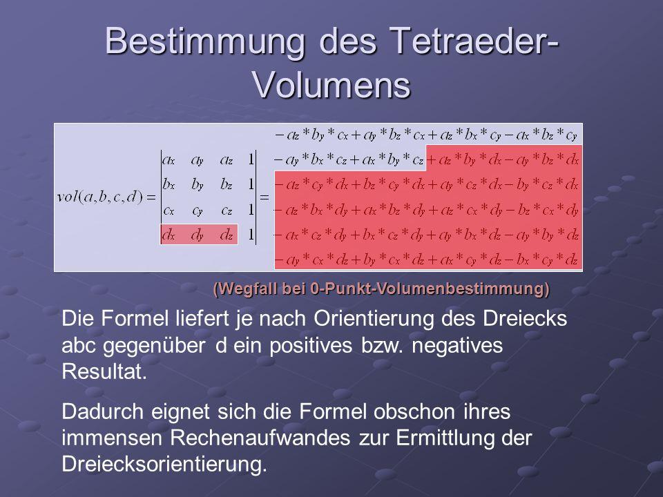 Bestimmung des Tetraeder- Volumens Die Formel liefert je nach Orientierung des Dreiecks abc gegenüber d ein positives bzw. negatives Resultat. Dadurch