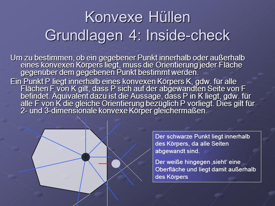 Konvexe Hüllen Grundlagen 4: Inside-check Um zu bestimmen, ob ein gegebener Punkt innerhalb oder außerhalb eines konvexen Körpers liegt, muss die Orie