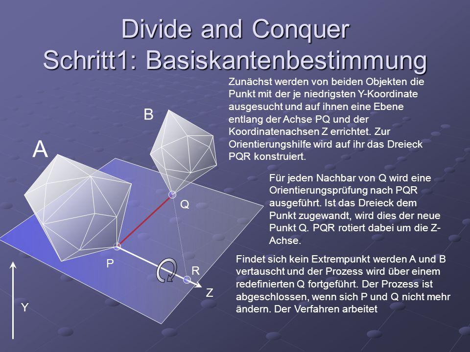 Divide and Conquer Schritt1: Basiskantenbestimmung A B Zunächst werden von beiden Objekten die Punkt mit der je niedrigsten Y-Koordinate ausgesucht un
