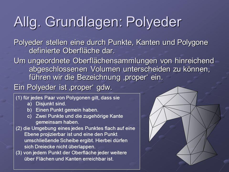 Allg. Grundlagen: Polyeder Polyeder stellen eine durch Punkte, Kanten und Polygone definierte Oberfläche dar. Um ungeordnete Oberflächensammlungen von