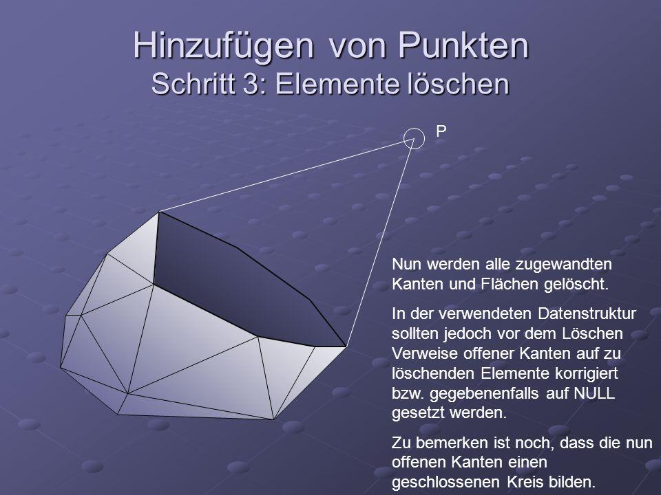 Hinzufügen von Punkten Schritt 3: Elemente löschen P Nun werden alle zugewandten Kanten und Flächen gelöscht. In der verwendeten Datenstruktur sollten