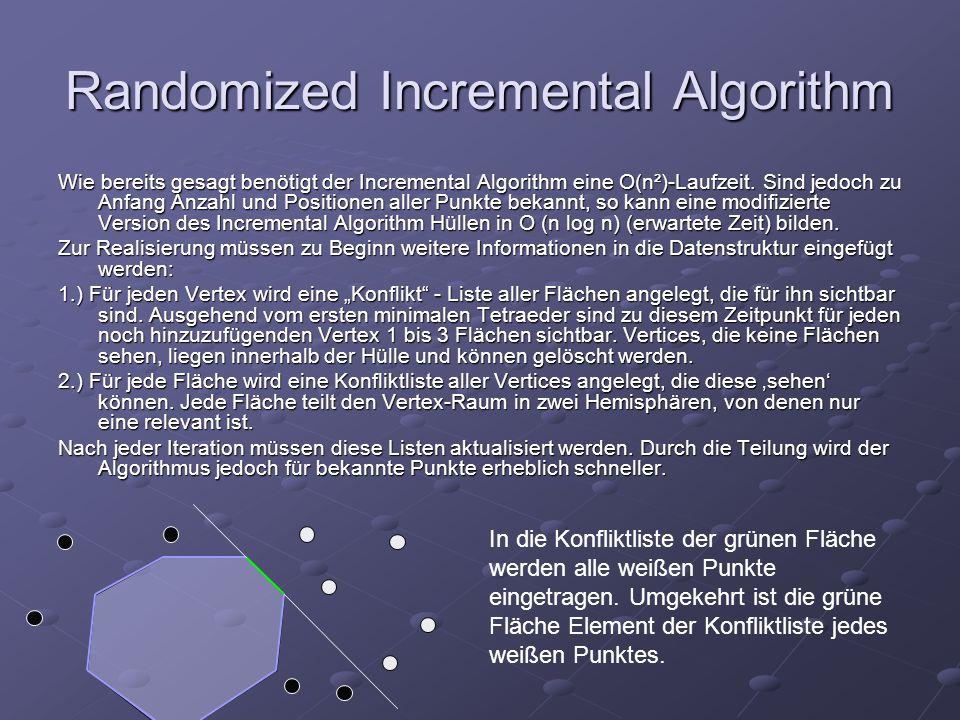 Randomized Incremental Algorithm Wie bereits gesagt benötigt der Incremental Algorithm eine O(n²)-Laufzeit. Sind jedoch zu Anfang Anzahl und Positione