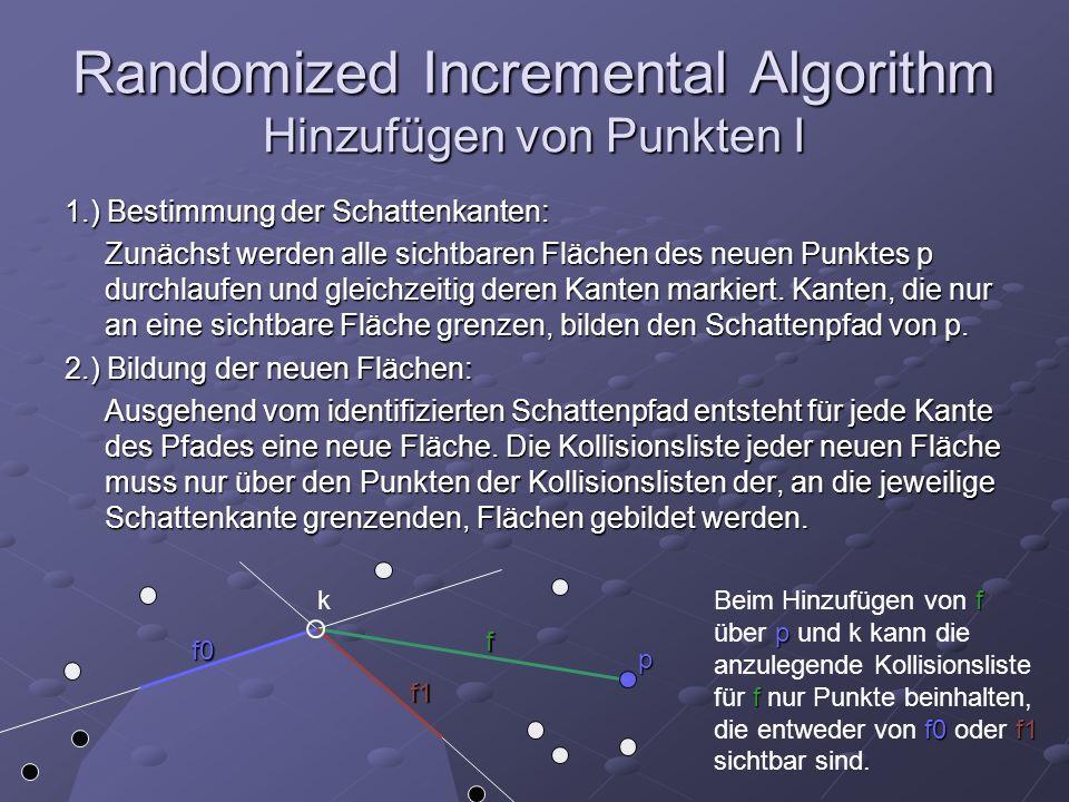 Randomized Incremental Algorithm Hinzufügen von Punkten I 1.) Bestimmung der Schattenkanten: Zunächst werden alle sichtbaren Flächen des neuen Punktes