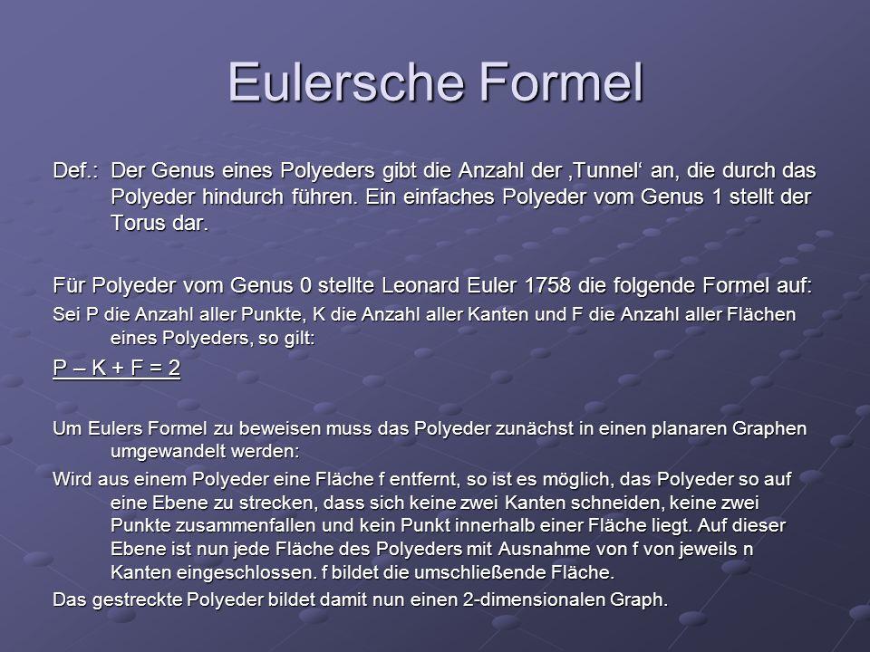 Eulersche Formel Def.: Der Genus eines Polyeders gibt die Anzahl der Tunnel an, die durch das Polyeder hindurch führen. Ein einfaches Polyeder vom Gen