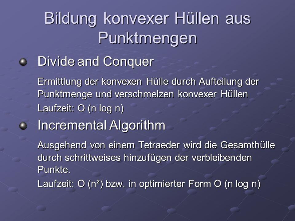 Bildung konvexer Hüllen aus Punktmengen Divide and Conquer Ermittlung der konvexen Hülle durch Aufteilung der Punktmenge und verschmelzen konvexer Hül