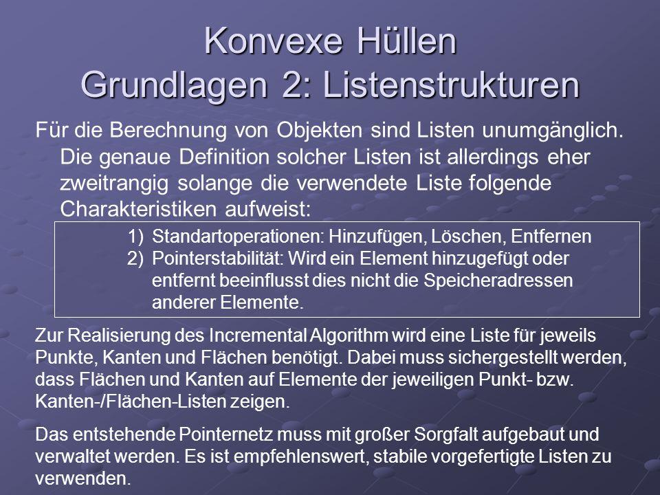 Konvexe Hüllen Grundlagen 2: Listenstrukturen Für die Berechnung von Objekten sind Listen unumgänglich. Die genaue Definition solcher Listen ist aller