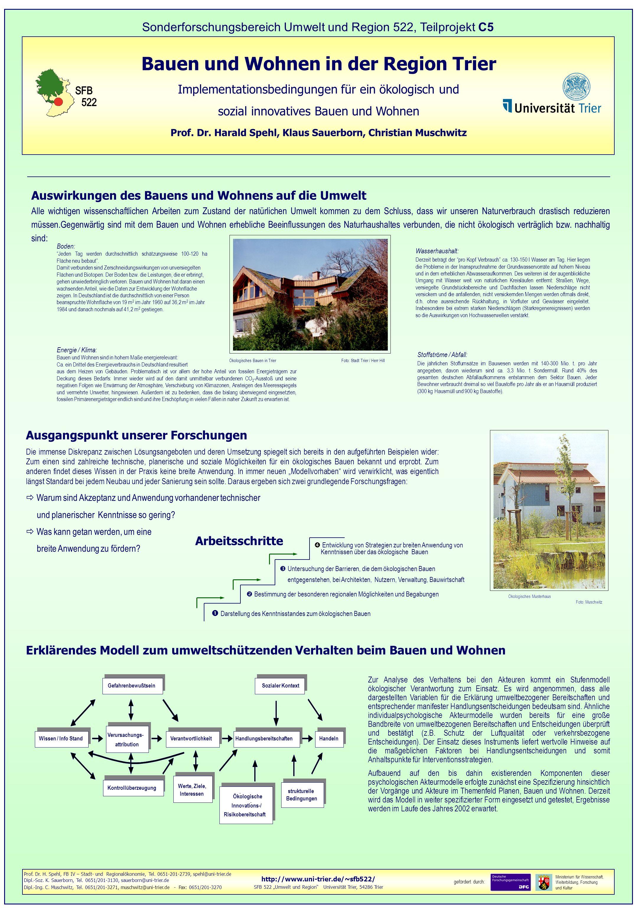 http://www.uni-trier.de/~sfb522/ SFB 522 Umwelt und Region Universität Trier, 54286 Trier gefördert durch: Ministerium für Wissenschaft, Weiterbildung