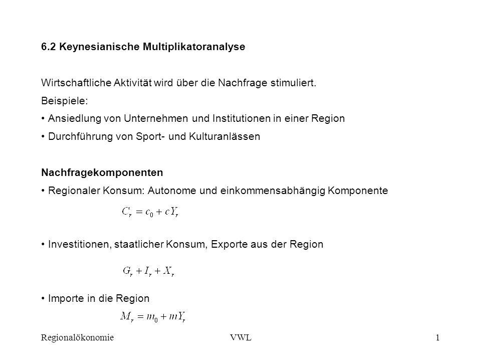 RegionalökonomieVWL1 6.2 Keynesianische Multiplikatoranalyse Wirtschaftliche Aktivität wird über die Nachfrage stimuliert. Beispiele: Ansiedlung von U