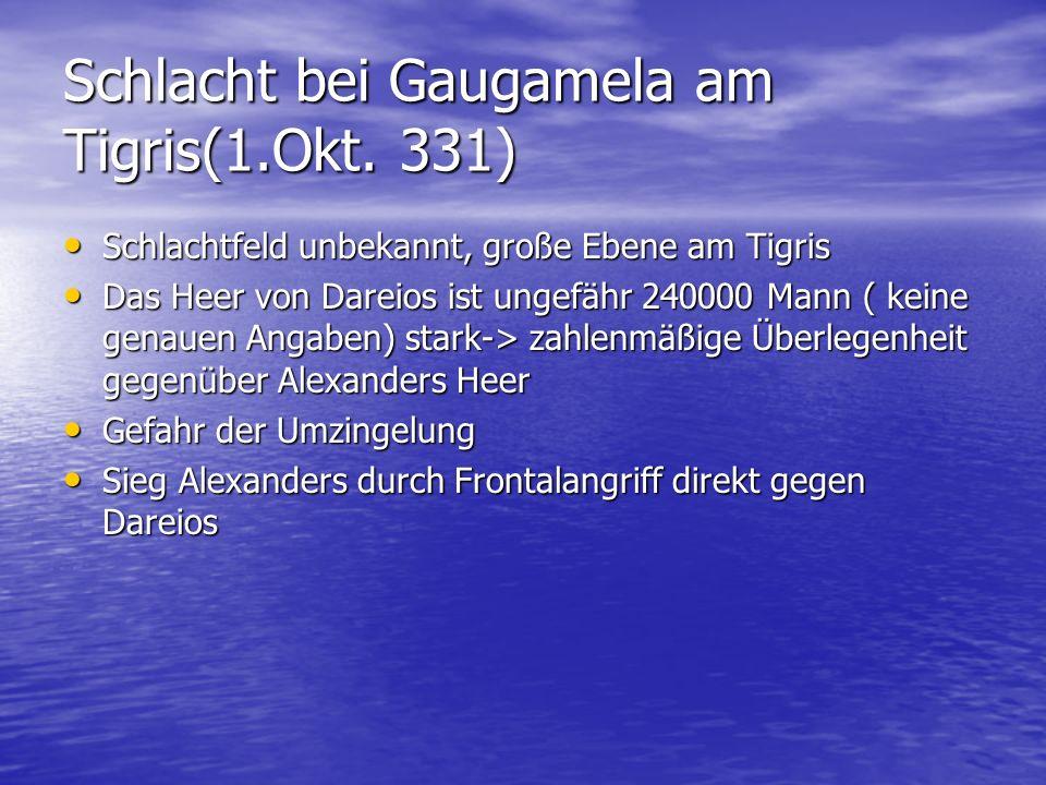 Schlacht bei Gaugamela am Tigris(1.Okt. 331) Schlachtfeld unbekannt, große Ebene am Tigris Schlachtfeld unbekannt, große Ebene am Tigris Das Heer von