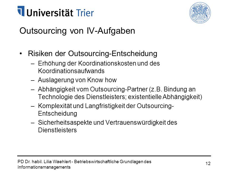 PD Dr. habil. Lilia Waehlert - Betriebswirtschaftliche Grundlagen des Informationsmanagements 12 Outsourcing von IV-Aufgaben Risiken der Outsourcing-E