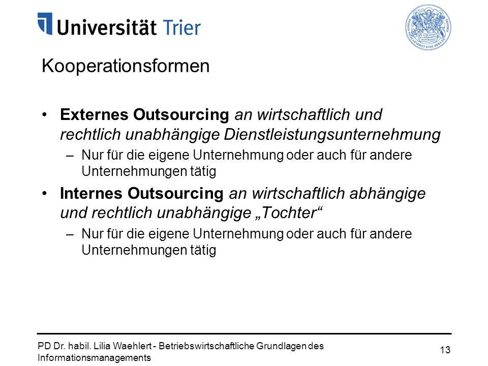 PD Dr. habil. Lilia Waehlert - Betriebswirtschaftliche Grundlagen des Informationsmanagements 13 Kooperationsformen Externes Outsourcing an wirtschaft