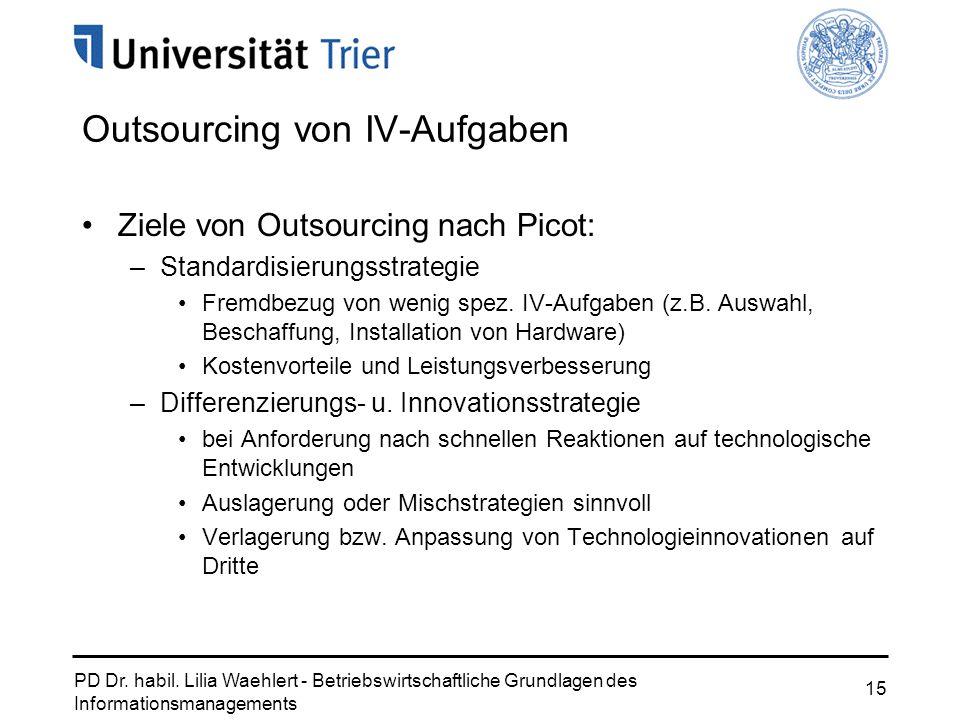 PD Dr. habil. Lilia Waehlert - Betriebswirtschaftliche Grundlagen des Informationsmanagements 15 Outsourcing von IV-Aufgaben Ziele von Outsourcing nac