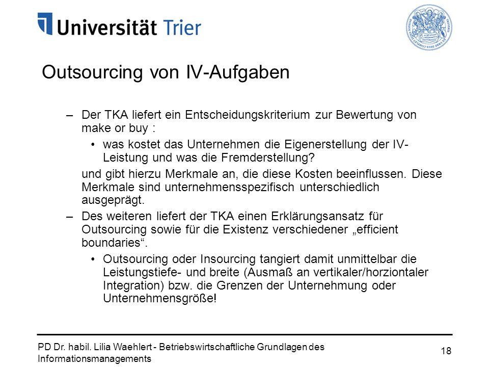 PD Dr. habil. Lilia Waehlert - Betriebswirtschaftliche Grundlagen des Informationsmanagements 18 Outsourcing von IV-Aufgaben –Der TKA liefert ein Ents