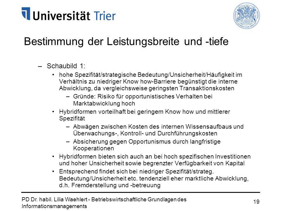 PD Dr. habil. Lilia Waehlert - Betriebswirtschaftliche Grundlagen des Informationsmanagements 19 Bestimmung der Leistungsbreite und -tiefe –Schaubild