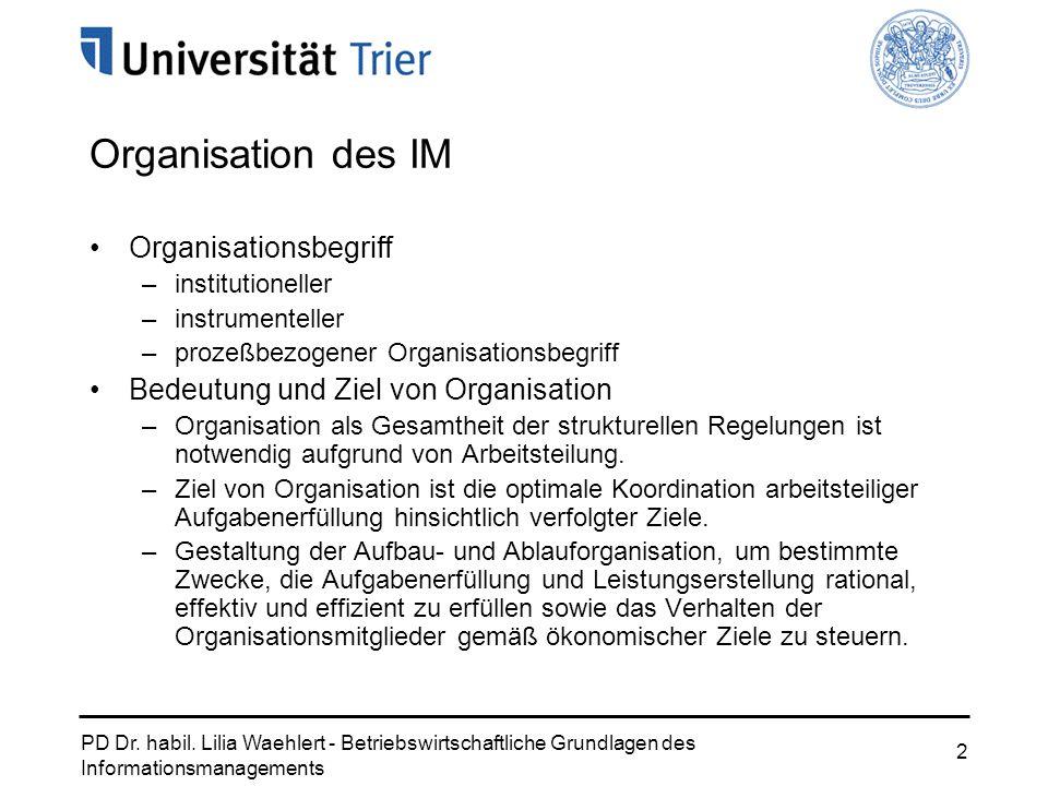 PD Dr. habil. Lilia Waehlert - Betriebswirtschaftliche Grundlagen des Informationsmanagements 2 Organisation des IM Organisationsbegriff –institutione