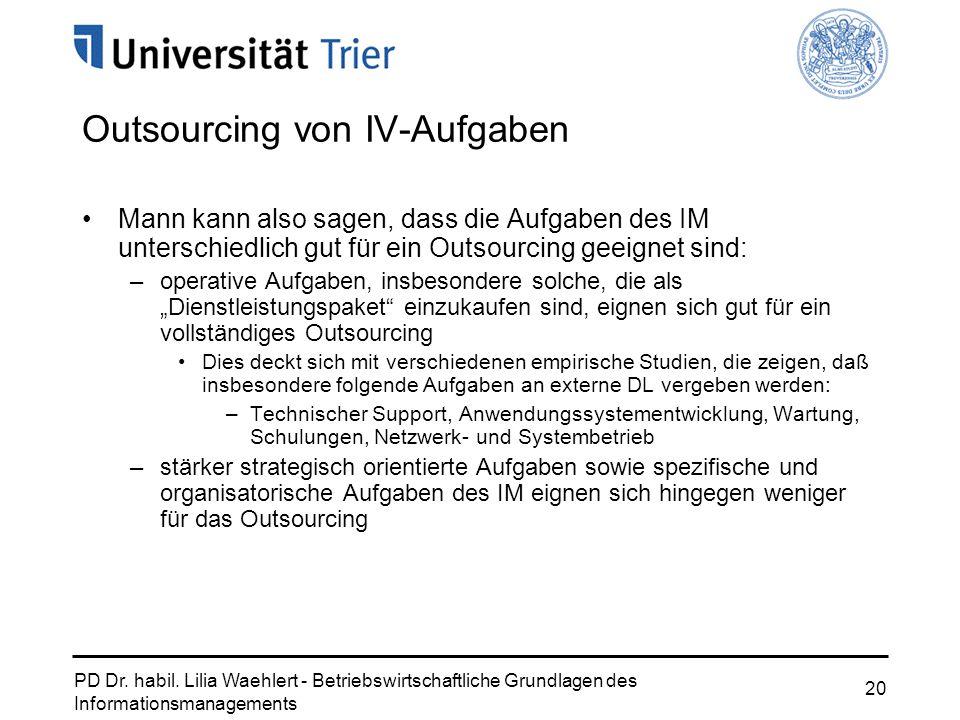 PD Dr. habil. Lilia Waehlert - Betriebswirtschaftliche Grundlagen des Informationsmanagements 20 Outsourcing von IV-Aufgaben Mann kann also sagen, das