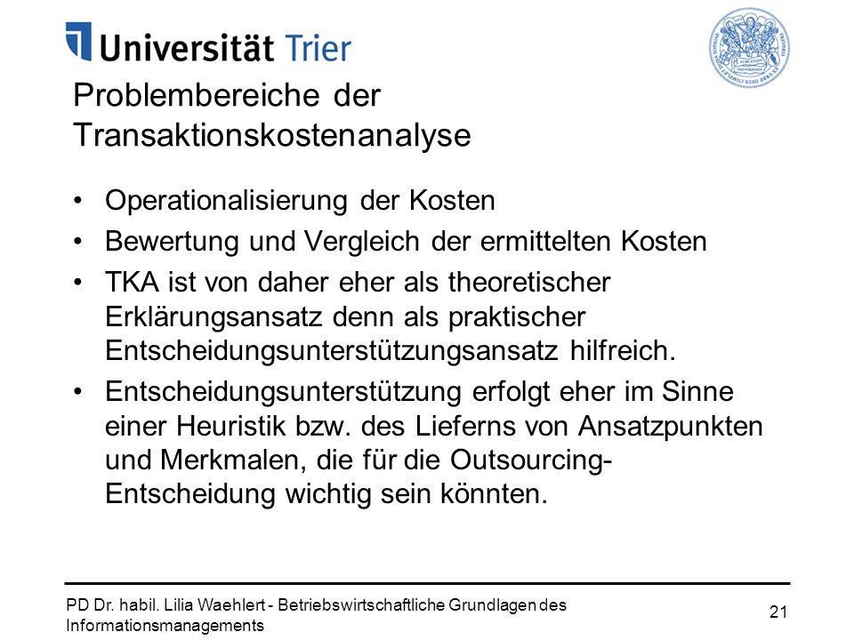PD Dr. habil. Lilia Waehlert - Betriebswirtschaftliche Grundlagen des Informationsmanagements 21 Problembereiche der Transaktionskostenanalyse Operati