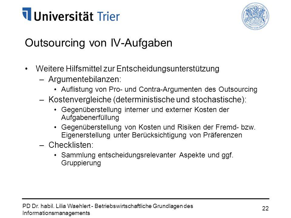 PD Dr. habil. Lilia Waehlert - Betriebswirtschaftliche Grundlagen des Informationsmanagements 22 Outsourcing von IV-Aufgaben Weitere Hilfsmittel zur E