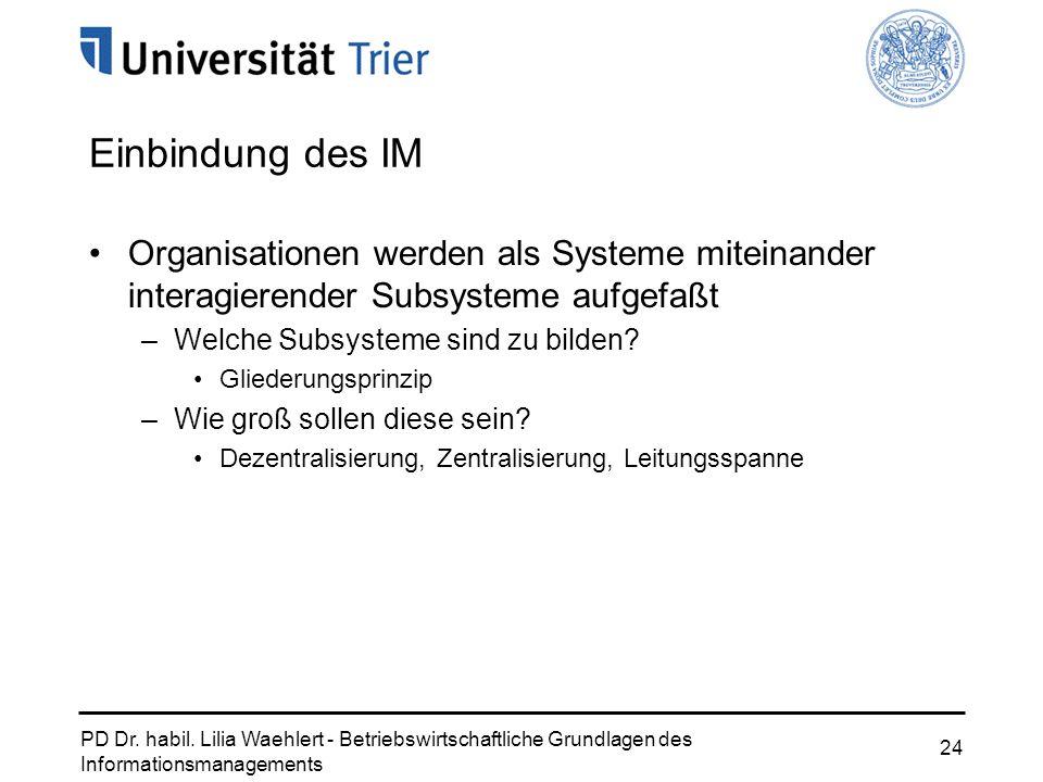 PD Dr. habil. Lilia Waehlert - Betriebswirtschaftliche Grundlagen des Informationsmanagements 24 Einbindung des IM Organisationen werden als Systeme m