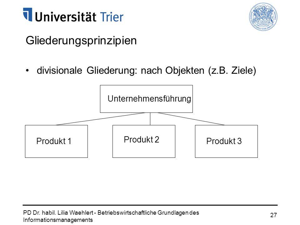 PD Dr. habil. Lilia Waehlert - Betriebswirtschaftliche Grundlagen des Informationsmanagements 27 Gliederungsprinzipien divisionale Gliederung: nach Ob