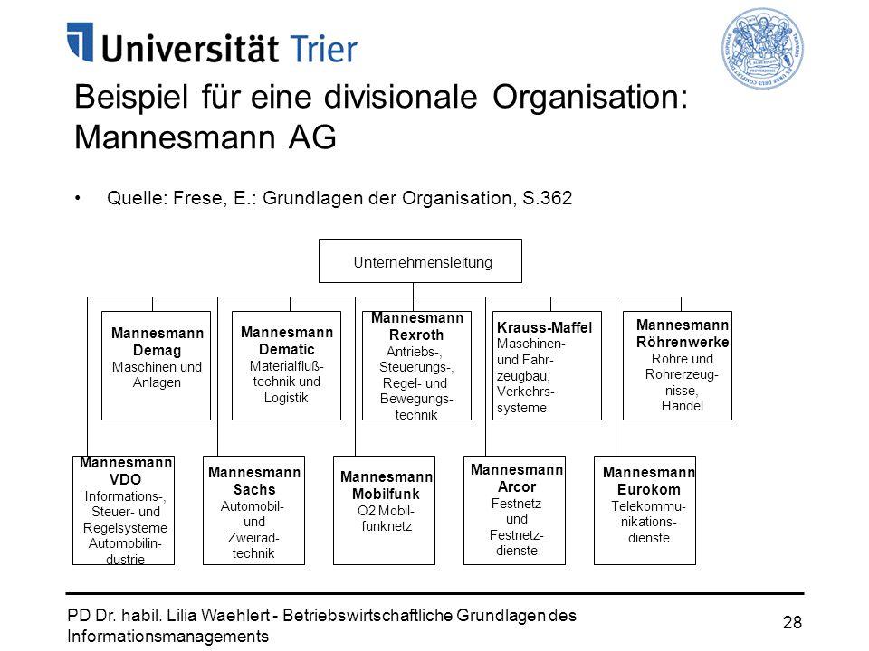 PD Dr. habil. Lilia Waehlert - Betriebswirtschaftliche Grundlagen des Informationsmanagements 28 Beispiel für eine divisionale Organisation: Mannesman
