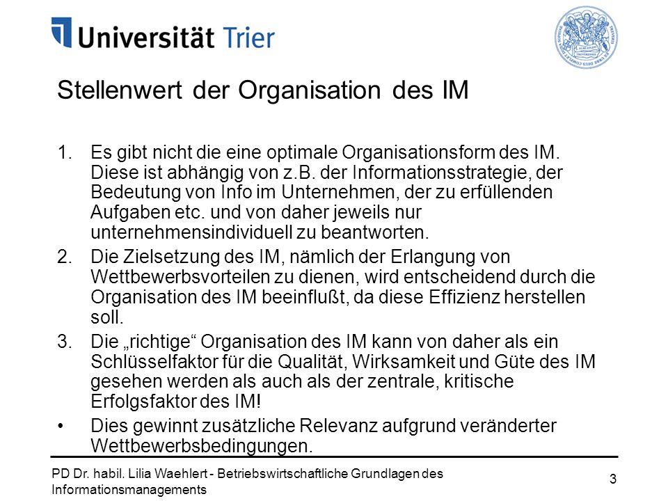 PD Dr. habil. Lilia Waehlert - Betriebswirtschaftliche Grundlagen des Informationsmanagements 3 Stellenwert der Organisation des IM 1.Es gibt nicht di