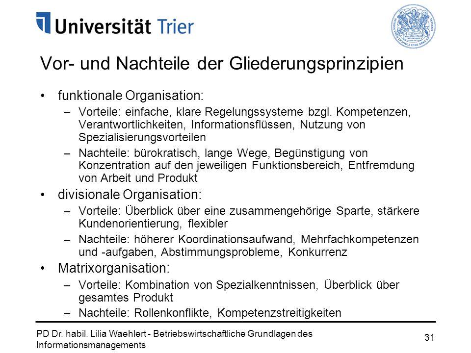 PD Dr. habil. Lilia Waehlert - Betriebswirtschaftliche Grundlagen des Informationsmanagements 31 Vor- und Nachteile der Gliederungsprinzipien funktion