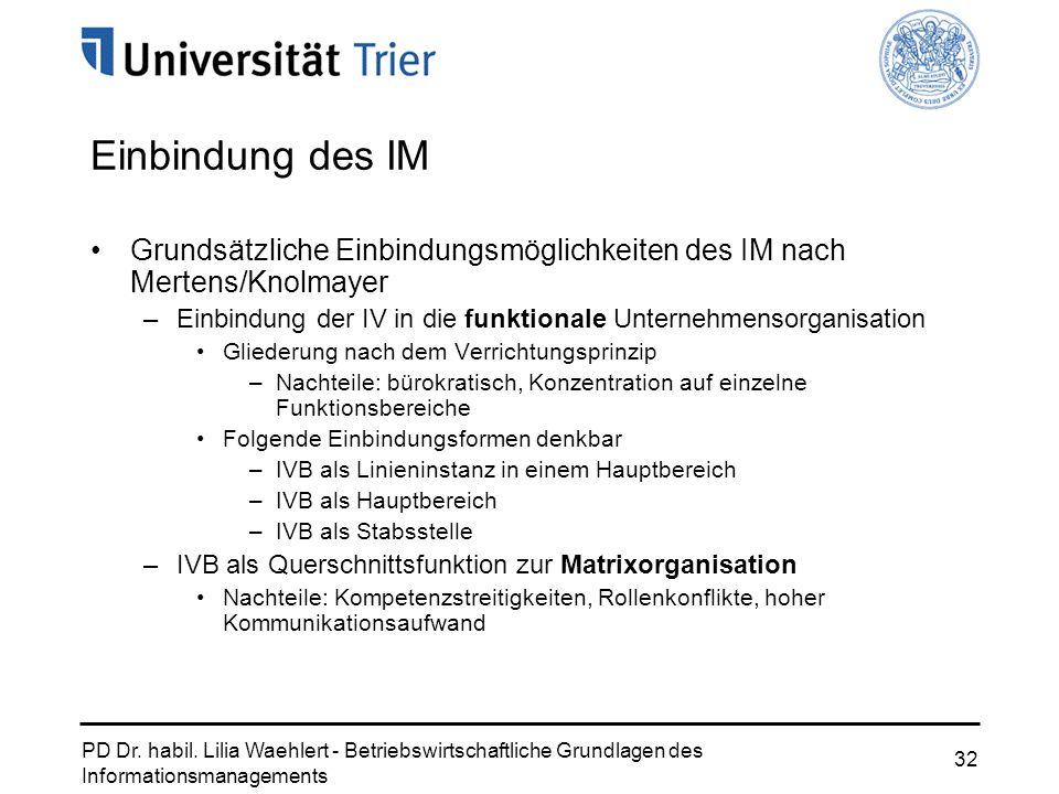 PD Dr. habil. Lilia Waehlert - Betriebswirtschaftliche Grundlagen des Informationsmanagements 32 Einbindung des IM Grundsätzliche Einbindungsmöglichke