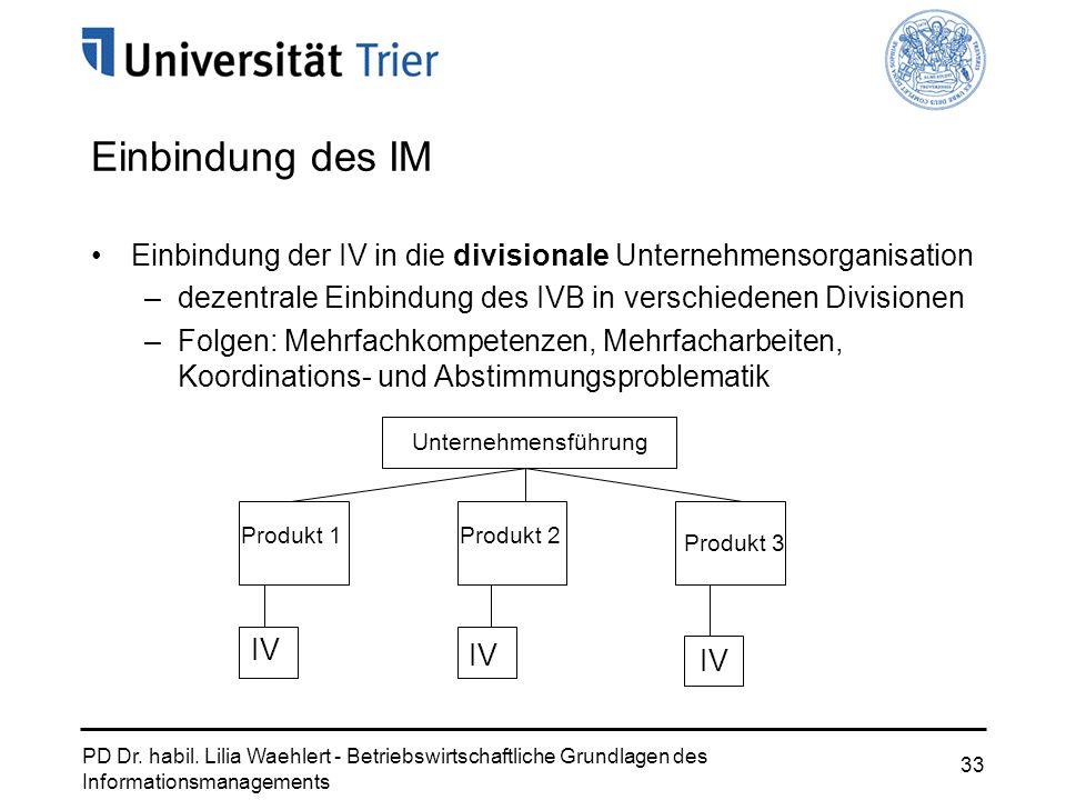 PD Dr. habil. Lilia Waehlert - Betriebswirtschaftliche Grundlagen des Informationsmanagements 33 Einbindung des IM Einbindung der IV in die divisional