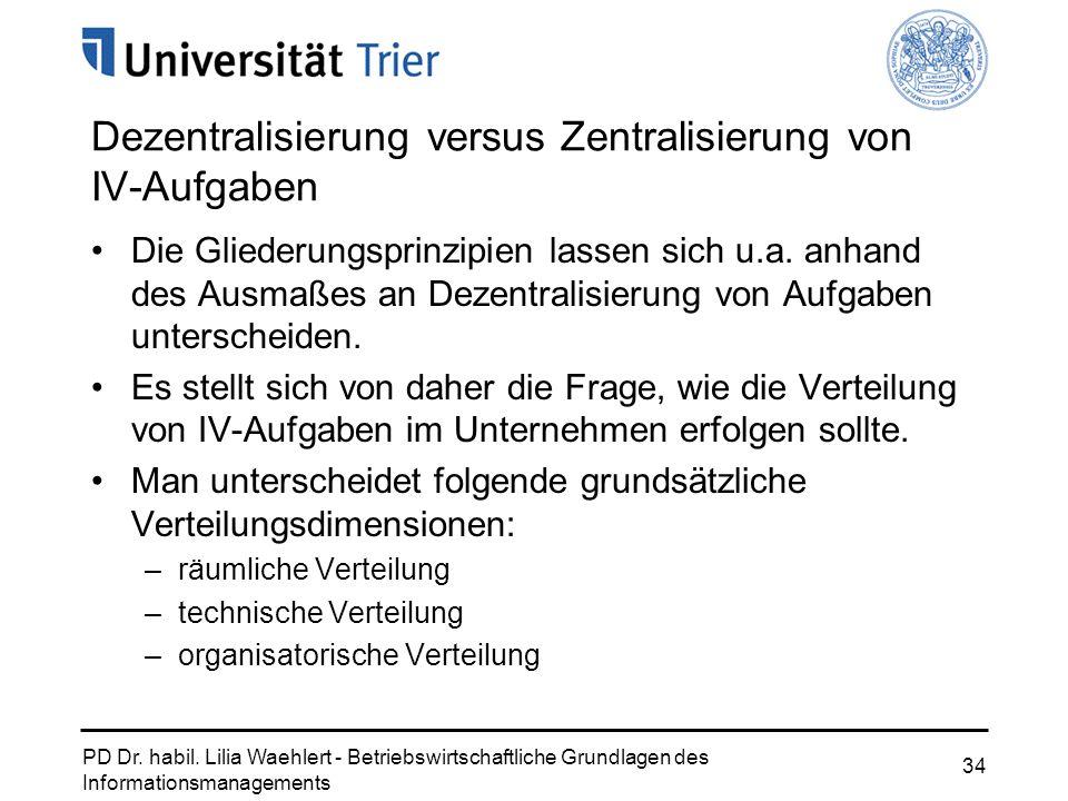 PD Dr. habil. Lilia Waehlert - Betriebswirtschaftliche Grundlagen des Informationsmanagements 34 Dezentralisierung versus Zentralisierung von IV-Aufga