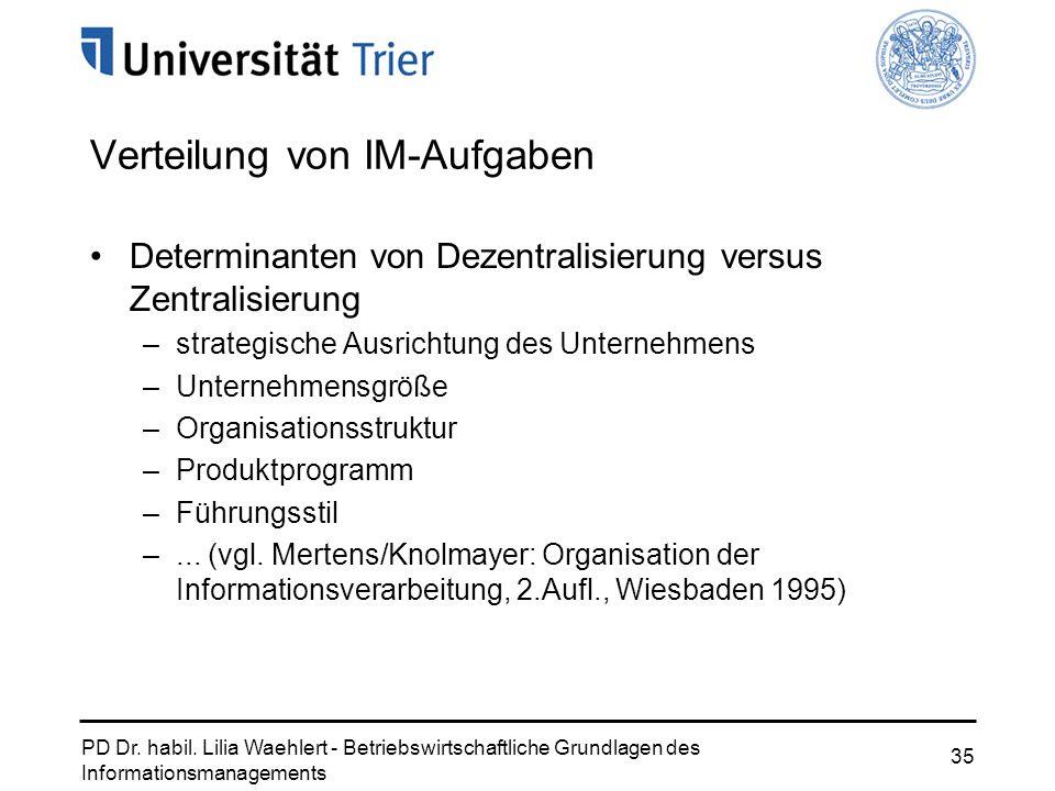 PD Dr. habil. Lilia Waehlert - Betriebswirtschaftliche Grundlagen des Informationsmanagements 35 Verteilung von IM-Aufgaben Determinanten von Dezentra