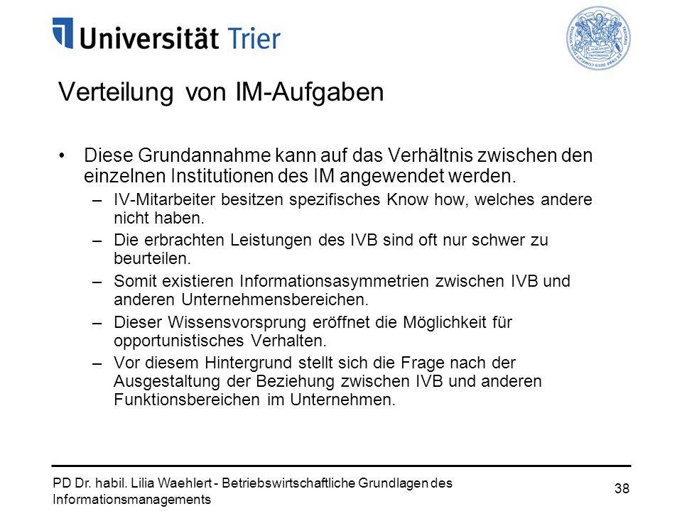 PD Dr. habil. Lilia Waehlert - Betriebswirtschaftliche Grundlagen des Informationsmanagements 38 Verteilung von IM-Aufgaben Diese Grundannahme kann au