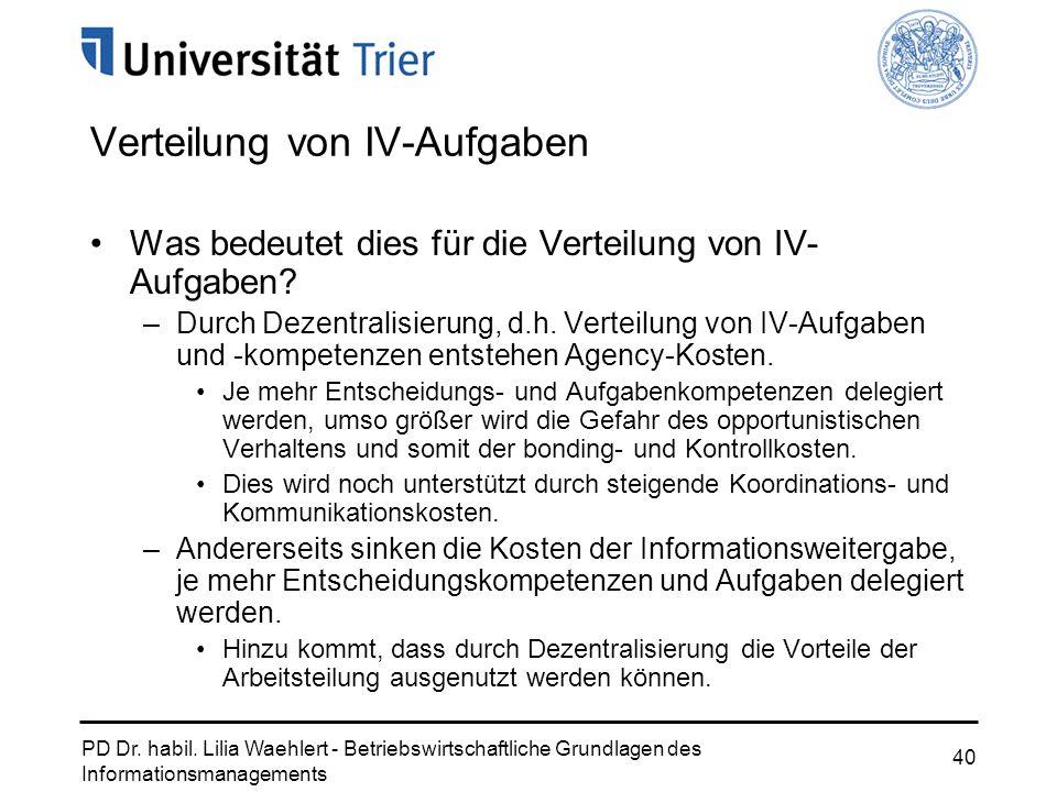 PD Dr. habil. Lilia Waehlert - Betriebswirtschaftliche Grundlagen des Informationsmanagements 40 Verteilung von IV-Aufgaben Was bedeutet dies für die