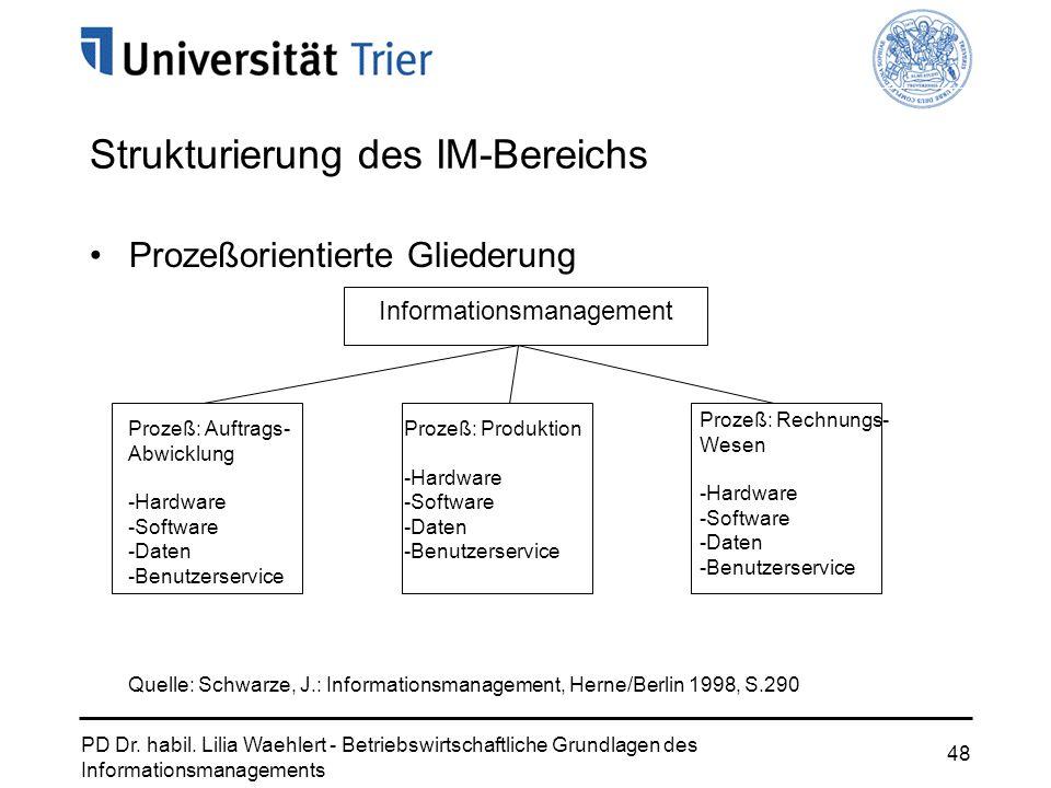 PD Dr. habil. Lilia Waehlert - Betriebswirtschaftliche Grundlagen des Informationsmanagements 48 Prozeßorientierte Gliederung Strukturierung des IM-Be