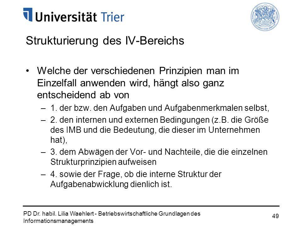 PD Dr. habil. Lilia Waehlert - Betriebswirtschaftliche Grundlagen des Informationsmanagements 49 Strukturierung des IV-Bereichs Welche der verschieden