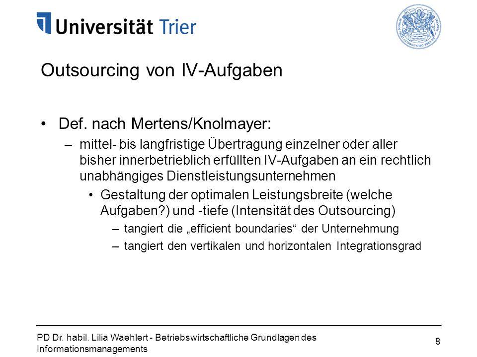 PD Dr. habil. Lilia Waehlert - Betriebswirtschaftliche Grundlagen des Informationsmanagements 8 Outsourcing von IV-Aufgaben Def. nach Mertens/Knolmaye