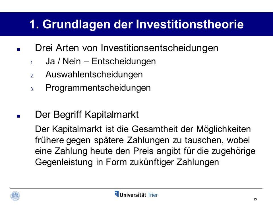 13 1. Grundlagen der Investitionstheorie Drei Arten von Investitionsentscheidungen 1. Ja / Nein – Entscheidungen 2. Auswahlentscheidungen 3. Programme
