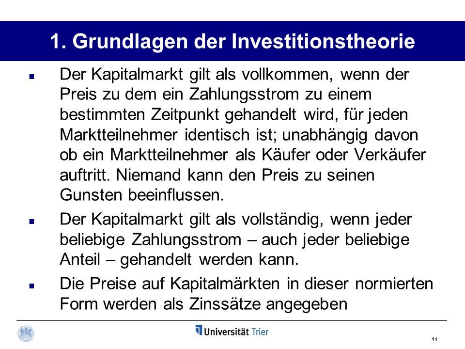 14 1. Grundlagen der Investitionstheorie Der Kapitalmarkt gilt als vollkommen, wenn der Preis zu dem ein Zahlungsstrom zu einem bestimmten Zeitpunkt g