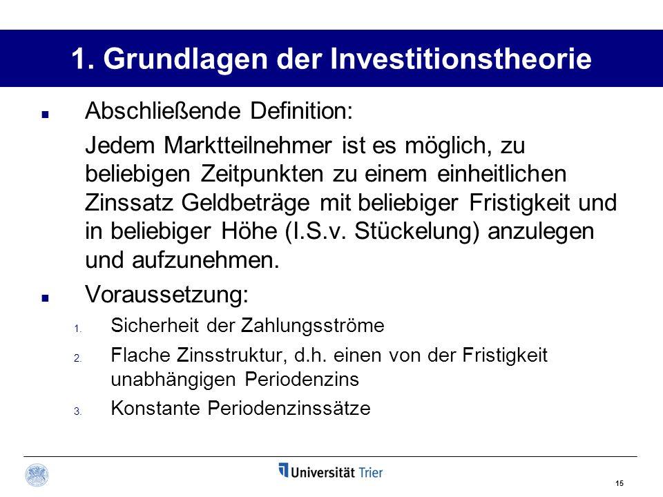 15 1. Grundlagen der Investitionstheorie Abschließende Definition: Jedem Marktteilnehmer ist es möglich, zu beliebigen Zeitpunkten zu einem einheitlic