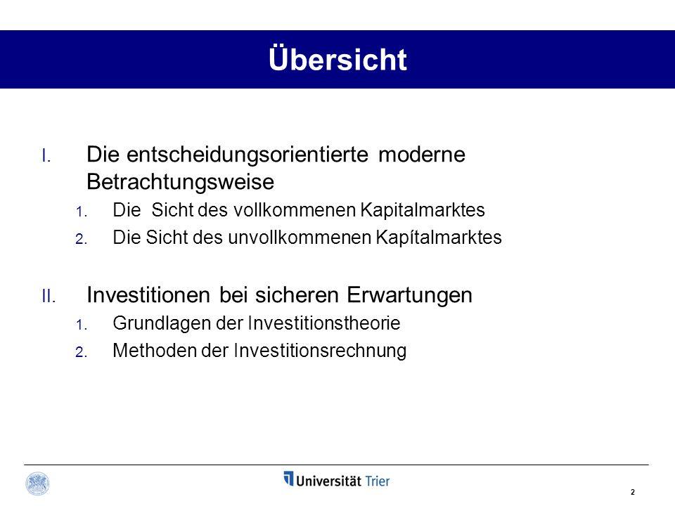 2 Übersicht I. Die entscheidungsorientierte moderne Betrachtungsweise 1. Die Sicht des vollkommenen Kapitalmarktes 2. Die Sicht des unvollkommenen Kap