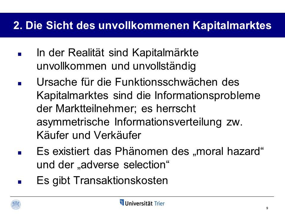 9 2. Die Sicht des unvollkommenen Kapitalmarktes In der Realität sind Kapitalmärkte unvollkommen und unvollständig Ursache für die Funktionsschwächen