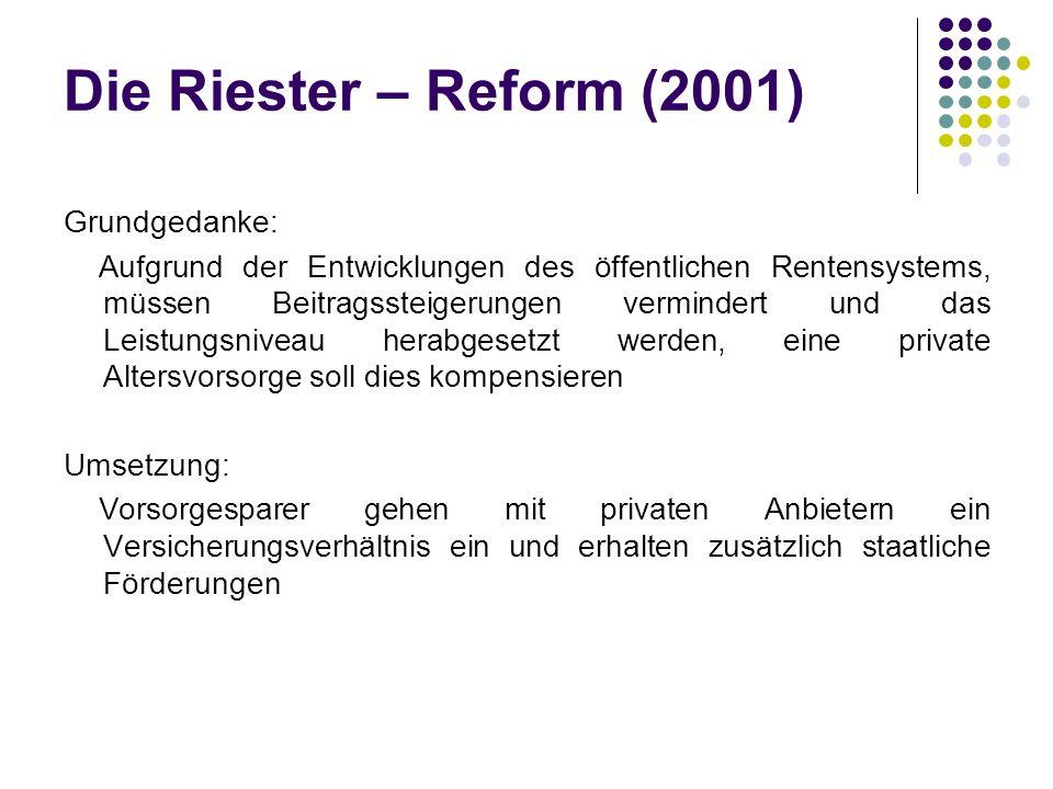 Die Riester – Reform (2001) Grundgedanke: Aufgrund der Entwicklungen des öffentlichen Rentensystems, müssen Beitragssteigerungen vermindert und das Leistungsniveau herabgesetzt werden, eine private Altersvorsorge soll dies kompensieren Umsetzung: Vorsorgesparer gehen mit privaten Anbietern ein Versicherungsverhältnis ein und erhalten zusätzlich staatliche Förderungen