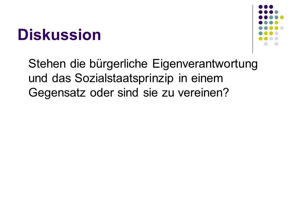 Diskussion Stehen die bürgerliche Eigenverantwortung und das Sozialstaatsprinzip in einem Gegensatz oder sind sie zu vereinen?