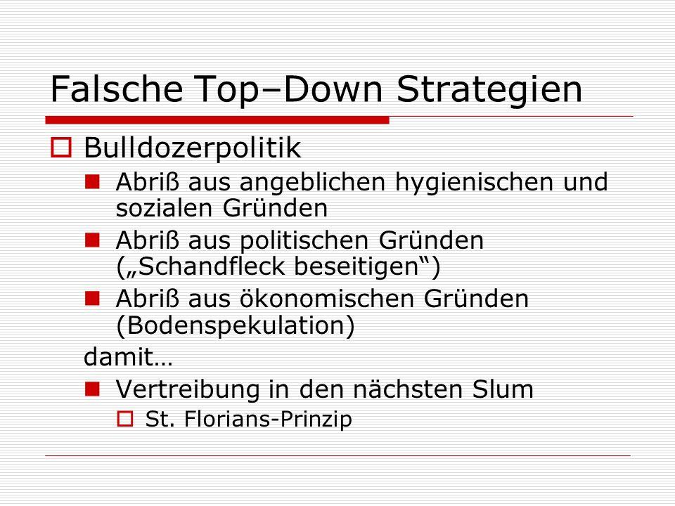 Falsche Top–Down Strategien Bulldozerpolitik Abriß aus angeblichen hygienischen und sozialen Gründen Abriß aus politischen Gründen (Schandfleck beseit