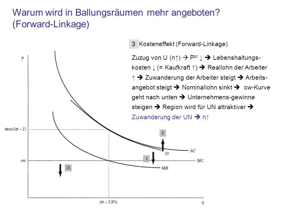 3 Kosteneffekt (Forward-Linkage) Zuzug von U (n) P M Lebenshaltungs- kosten (= Kaufkraft ) Reallohn der Arbeiter Zuwanderung der Arbeiter steigt Arbei