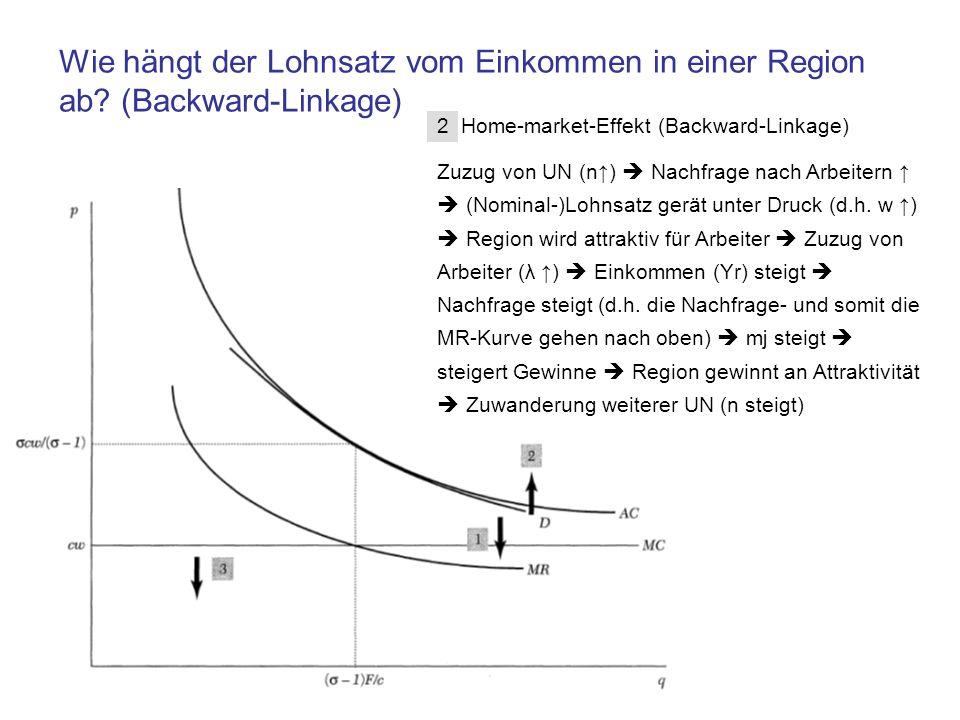 2 Home-market-Effekt (Backward-Linkage) Zuzug von UN (n) Nachfrage nach Arbeitern (Nominal-)Lohnsatz gerät unter Druck (d.h. w ) Region wird attraktiv