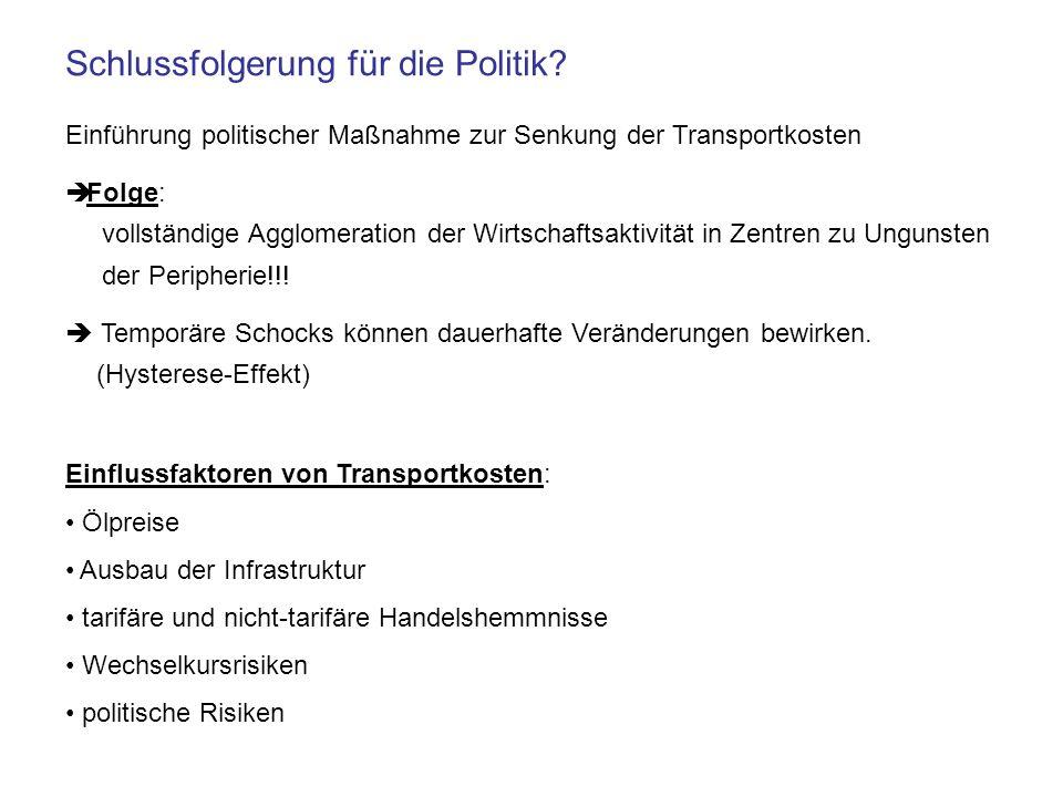 Schlussfolgerung für die Politik? Einführung politischer Maßnahme zur Senkung der Transportkosten Folge: vollständige Agglomeration der Wirtschaftsakt