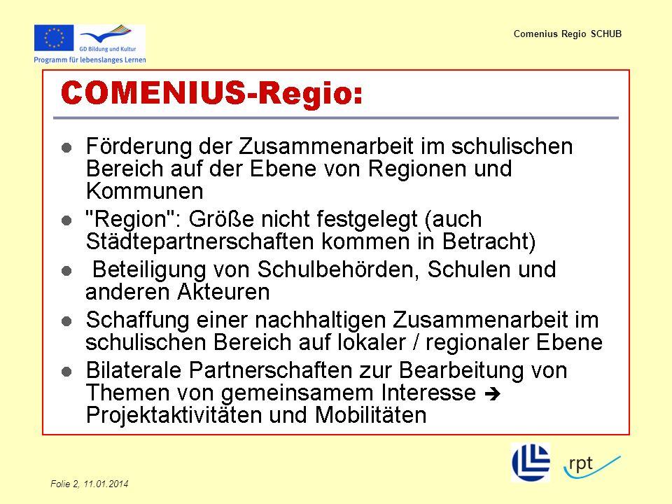 Folie 2, 11.01.2014 Comenius Regio SCHUB