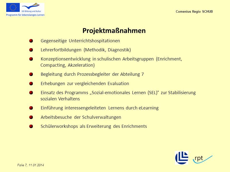 Folie 7, 11.01.2014 Comenius Regio SCHUB Projektmaßnahmen Gegenseitige Unterrichtshospitationen Lehrerfortbildungen (Methodik, Diagnostik) Konzeptions