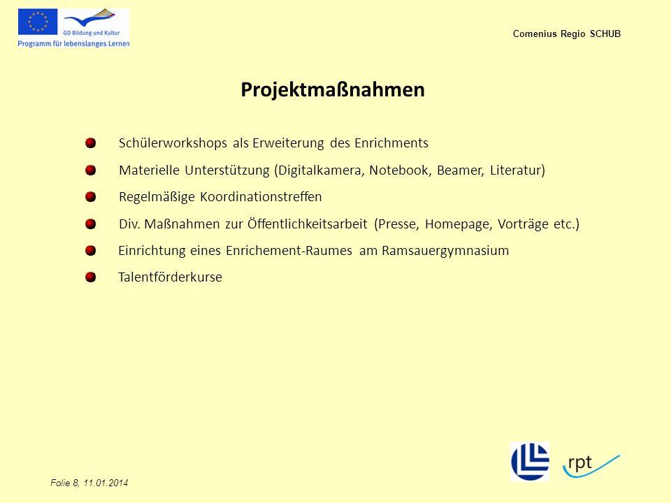 Folie 8, 11.01.2014 Comenius Regio SCHUB Projektmaßnahmen Schülerworkshops als Erweiterung des Enrichments Materielle Unterstützung (Digitalkamera, No